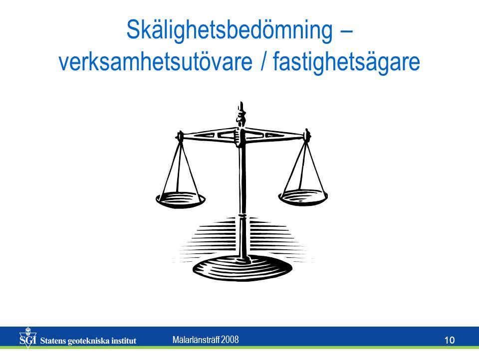 Mälarlänsträff 2008 10 Skälighetsbedömning – verksamhetsutövare / fastighetsägare