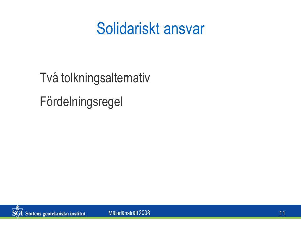 Mälarlänsträff 2008 11 Solidariskt ansvar Två tolkningsalternativ Fördelningsregel