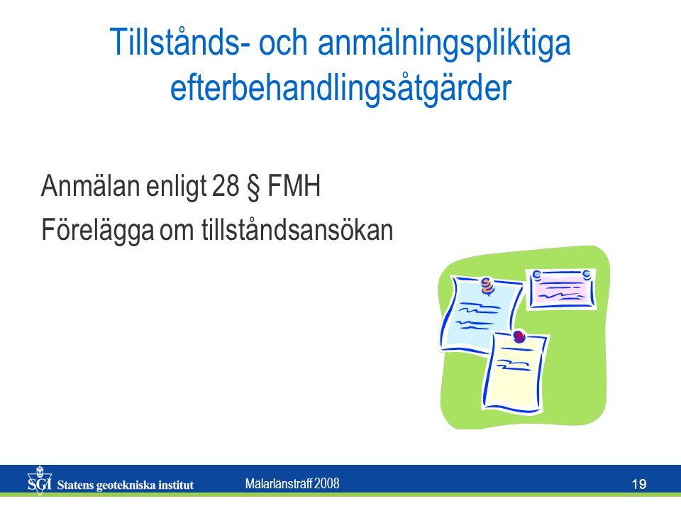 Mälarlänsträff 2008 19 Tillstånds- och anmälningspliktiga efterbehandlingsåtgärder Anmälan enligt 28 § FMH Förelägga om tillståndsansökan