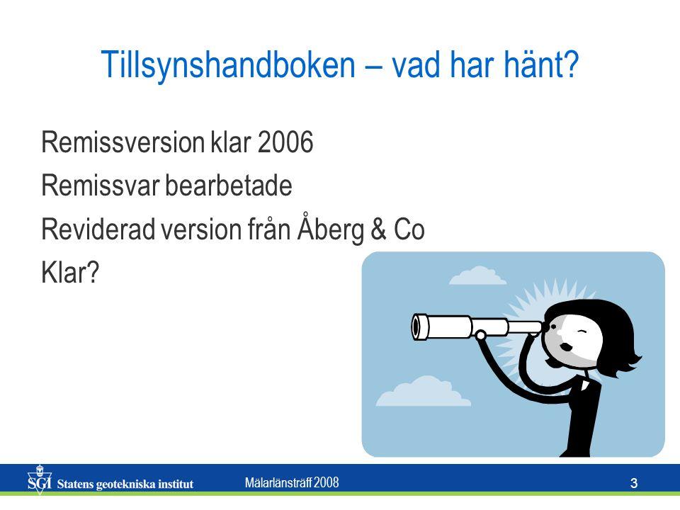 Mälarlänsträff 2008 3 Tillsynshandboken – vad har hänt? Remissversion klar 2006 Remissvar bearbetade Reviderad version från Åberg & Co Klar?