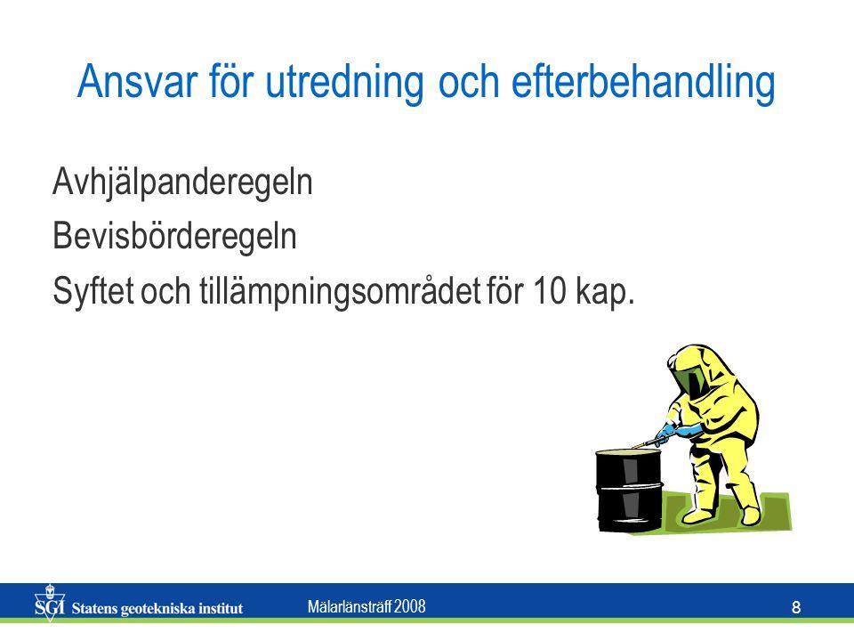 Mälarlänsträff 2008 8 Ansvar för utredning och efterbehandling Avhjälpanderegeln Bevisbörderegeln Syftet och tillämpningsområdet för 10 kap.
