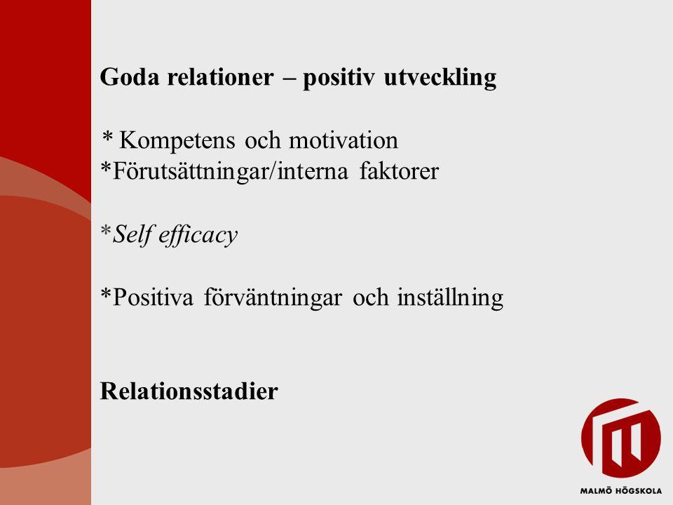 Goda relationer – positiv utveckling * Kompetens och motivation *Förutsättningar/interna faktorer *Self efficacy *Positiva förväntningar och inställning Relationsstadier