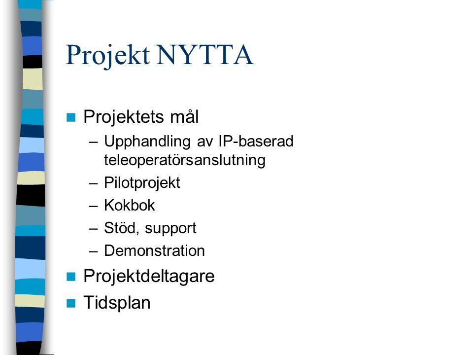 Projekt NYTTA Projektets mål –Upphandling av IP-baserad teleoperatörsanslutning –Pilotprojekt –Kokbok –Stöd, support –Demonstration Projektdeltagare Tidsplan