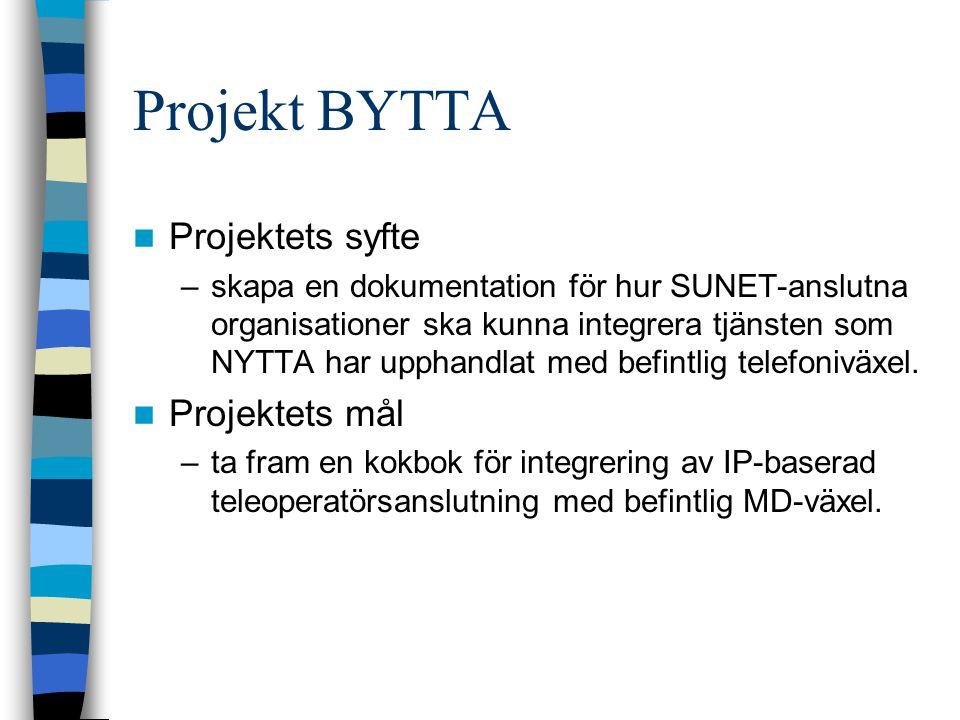 Projekt BYTTA Projektets syfte –skapa en dokumentation för hur SUNET-anslutna organisationer ska kunna integrera tjänsten som NYTTA har upphandlat med befintlig telefoniväxel.