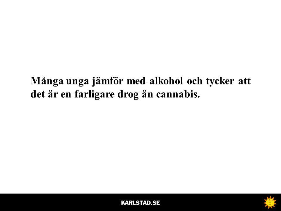 Många unga jämför med alkohol och tycker att det är en farligare drog än cannabis.