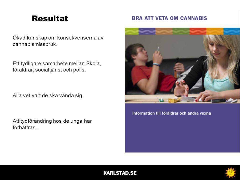 Resultat Ökad kunskap om konsekvenserna av cannabismissbruk.