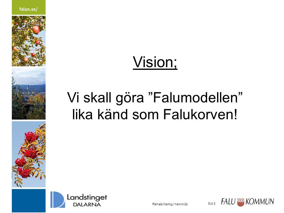 2015-03-31 Rehabilitering i hemmiljö Sid 3 Vision; Vi skall göra Falumodellen lika känd som Falukorven!