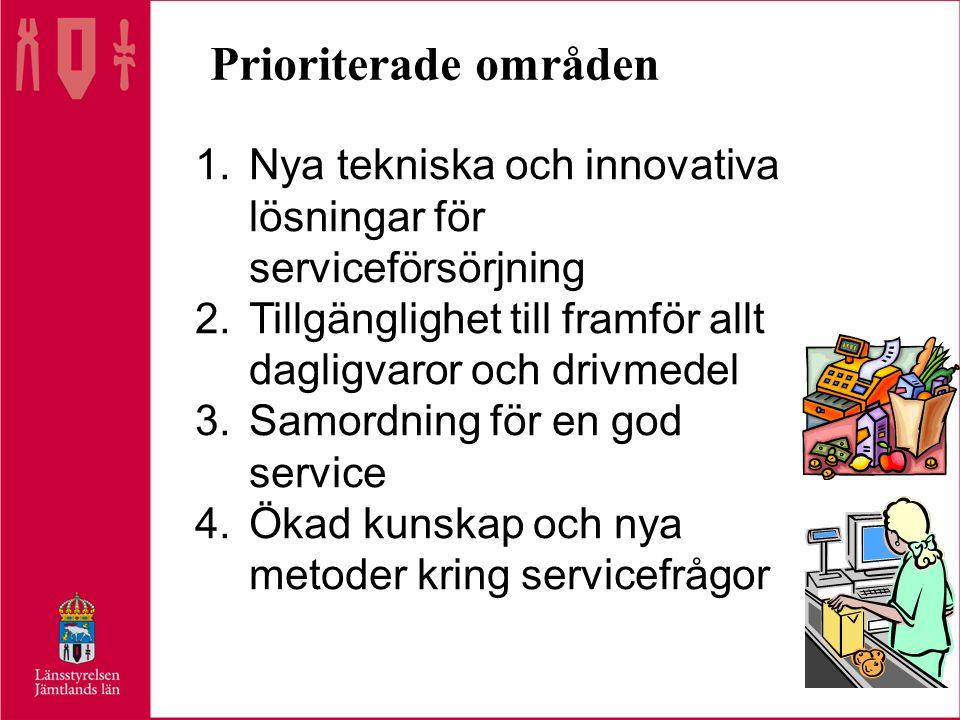 Prioriterade områden 1.Nya tekniska och innovativa lösningar för serviceförsörjning 2.Tillgänglighet till framför allt dagligvaror och drivmedel 3.Samordning för en god service 4.Ökad kunskap och nya metoder kring servicefrågor