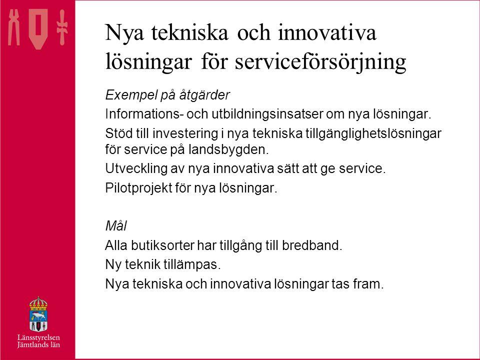 Nya tekniska och innovativa lösningar för serviceförsörjning Exempel på åtgärder Informations- och utbildningsinsatser om nya lösningar.