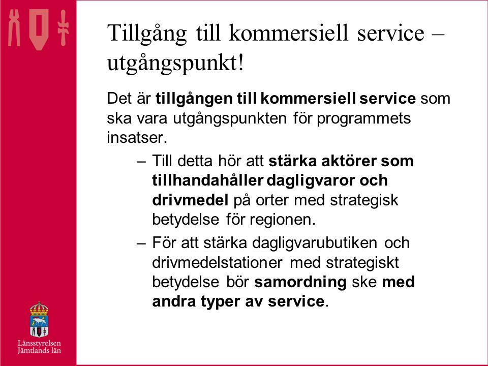 Tillgång till kommersiell service – utgångspunkt.