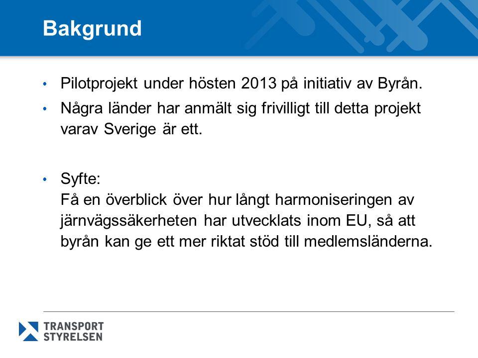 Bakgrund Pilotprojekt under hösten 2013 på initiativ av Byrån.