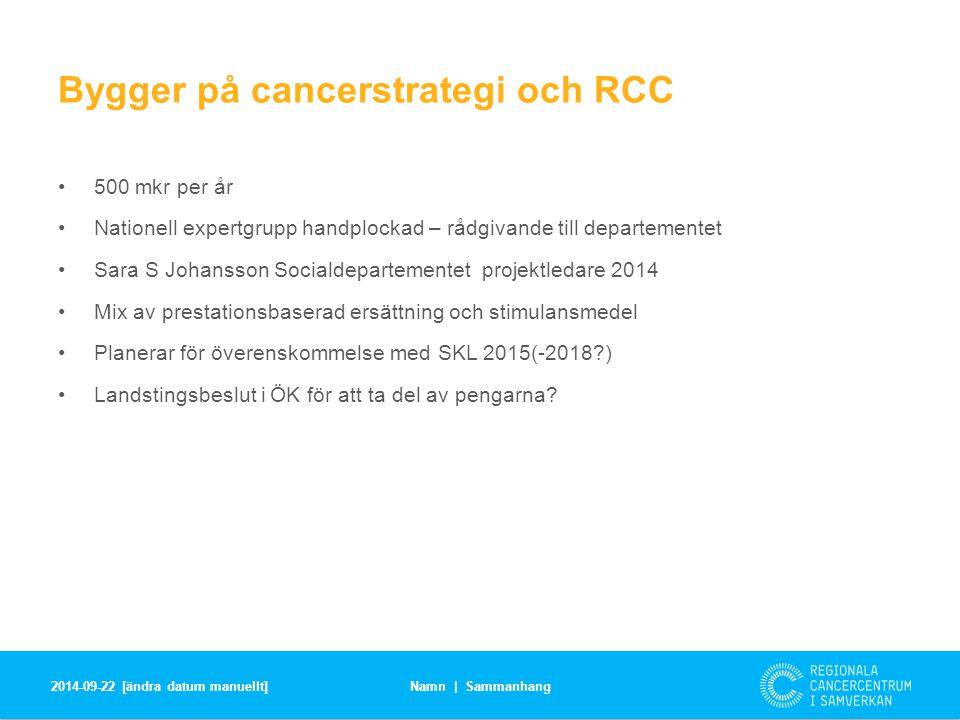 Förarbete hösten 2014 – regeringsbeslut 4 september | 4 mkr Ta fram underlag för standardiserade vårdförlopp för minst 4 diagnoser via RCC i samverkan och de nationella vårdprogramgrupperna.