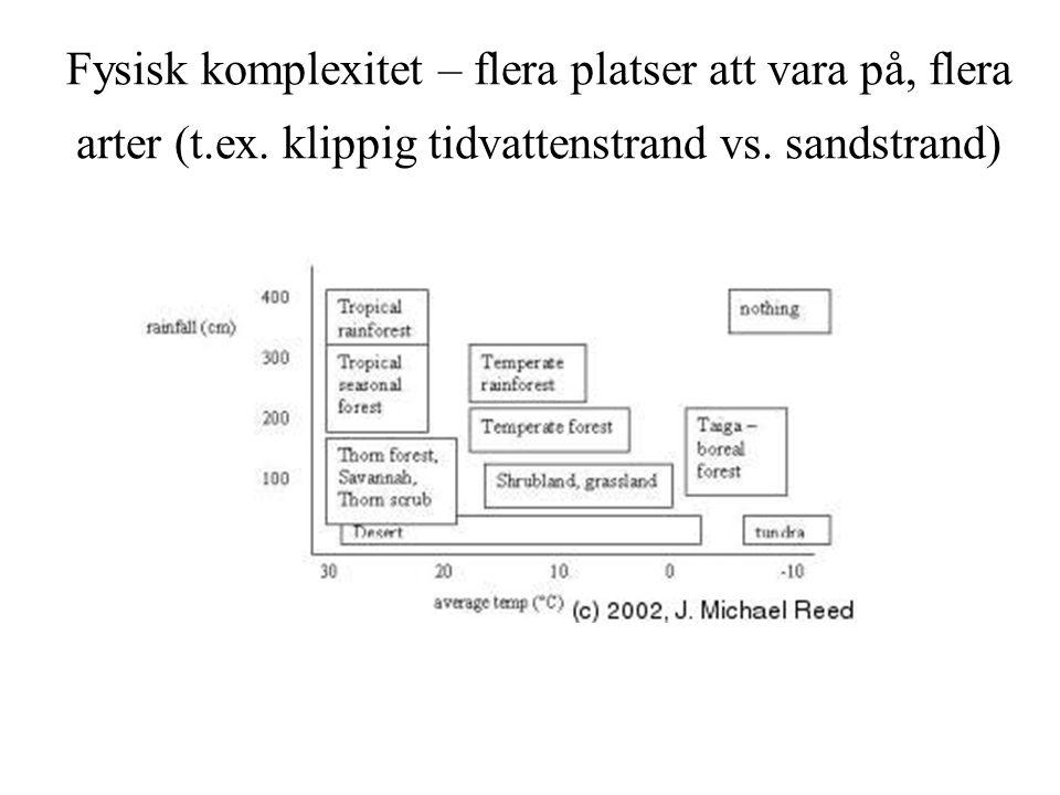 Fysisk komplexitet – flera platser att vara på, flera arter (t.ex. klippig tidvattenstrand vs. sandstrand)