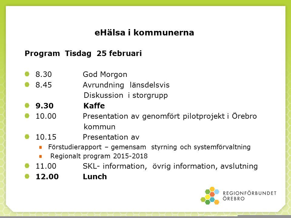 Program Tisdag 25 februari 8.30 God Morgon 8.45 Avrundning länsdelsvis Diskussion i storgrupp 9.30 Kaffe 10.00 Presentation av genomfört pilotprojekt