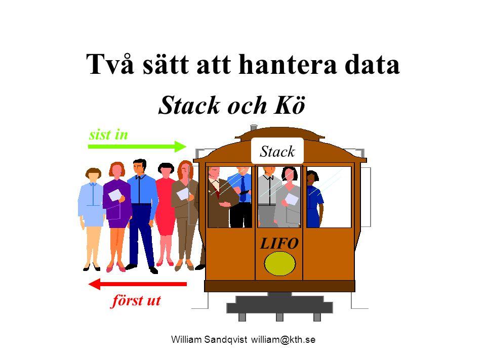 baklanges()- Pop() William Sandqvist william@kth.se void Baklanges( char xString[] ) { int i; DataTyp data; BottenPekarTyp bottenPek = NULL ; for ( i=0 ; xString[i] != \0 ; ++i ) { data.heltalsData = xString[i]; Push( &bottenPek, data ); } for ( i=0 ; xString[i] != \0 ; ++i ) { Pop( &bottenPek, &data ); xString[i] = data.heltalsData ; } return; } NULL A n d e r s bottenPek