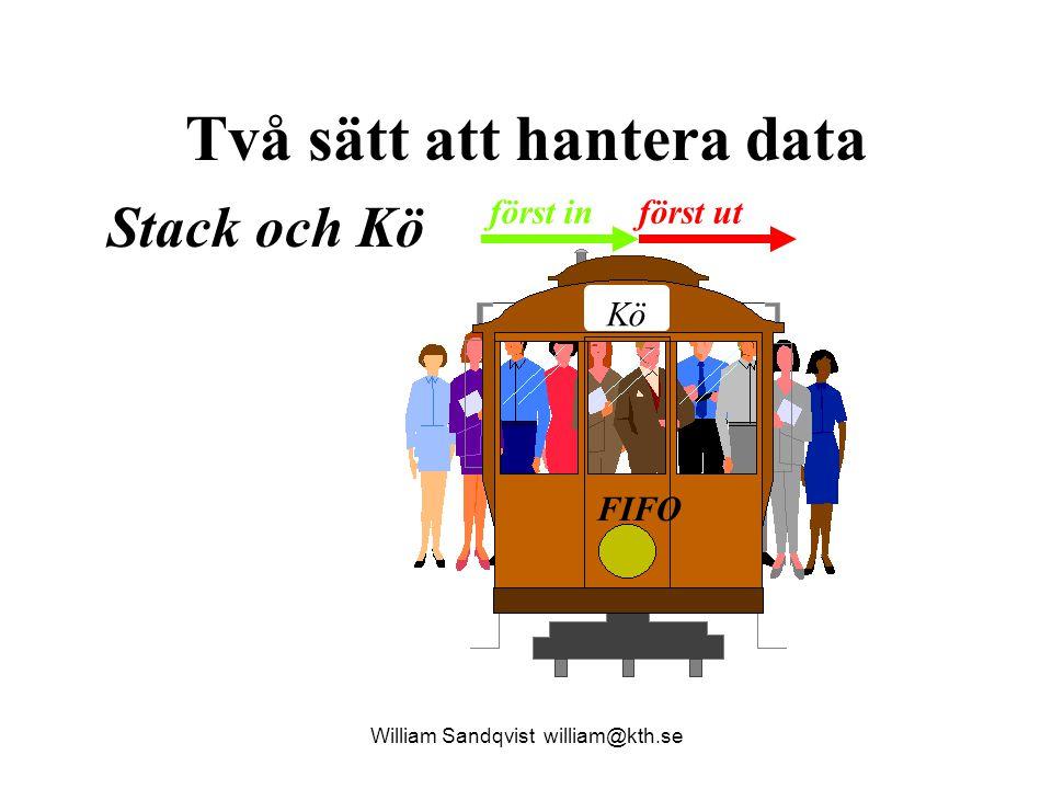 William Sandqvist william@kth.se void Pop( BottenPekarTyp *b, DataTyp *x ) { BottenPekarTyp b1 = *b ; if ( !ArTom( b1 )) { *x = b1 -> d ; *b = b1 -> next ; free( b1 ); } else printf( Tom stack!\n ); return; } bottenPek NULL A n d e r s utvärde invärde Både data in resp data ut Tar bort stackelement och återför data i den borttagna tunnan via *x.