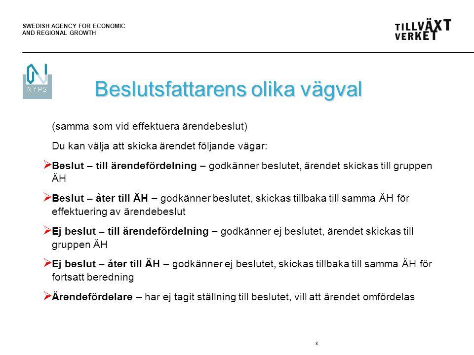 SWEDISH AGENCY FOR ECONOMIC AND REGIONAL GROWTH 9 Fatta utbetalningsbeslut 1(2) Aktuell för utbetalning