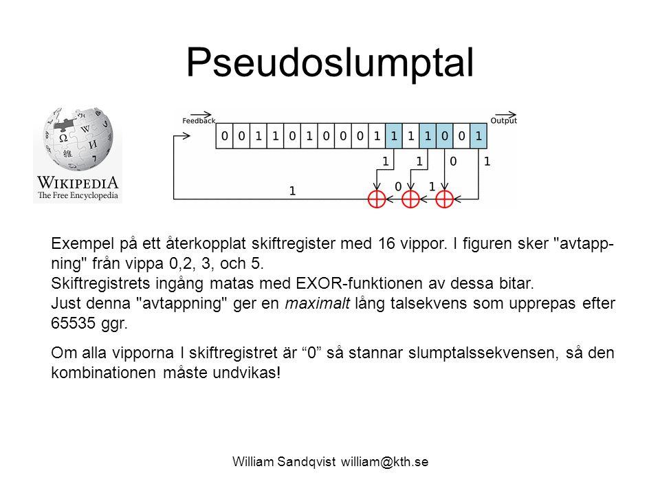 William Sandqvist william@kth.se Pseudoslumptal Exempel på ett återkopplat skiftregister med 16 vippor. I figuren sker