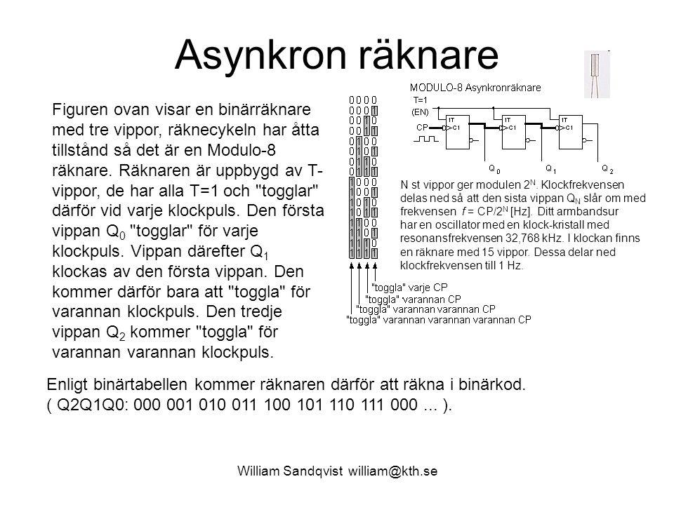 William Sandqvist william@kth.se Asynkron räknare Figuren ovan visar en binärräknare med tre vippor, räknecykeln har åtta tillstånd så det är en Modul