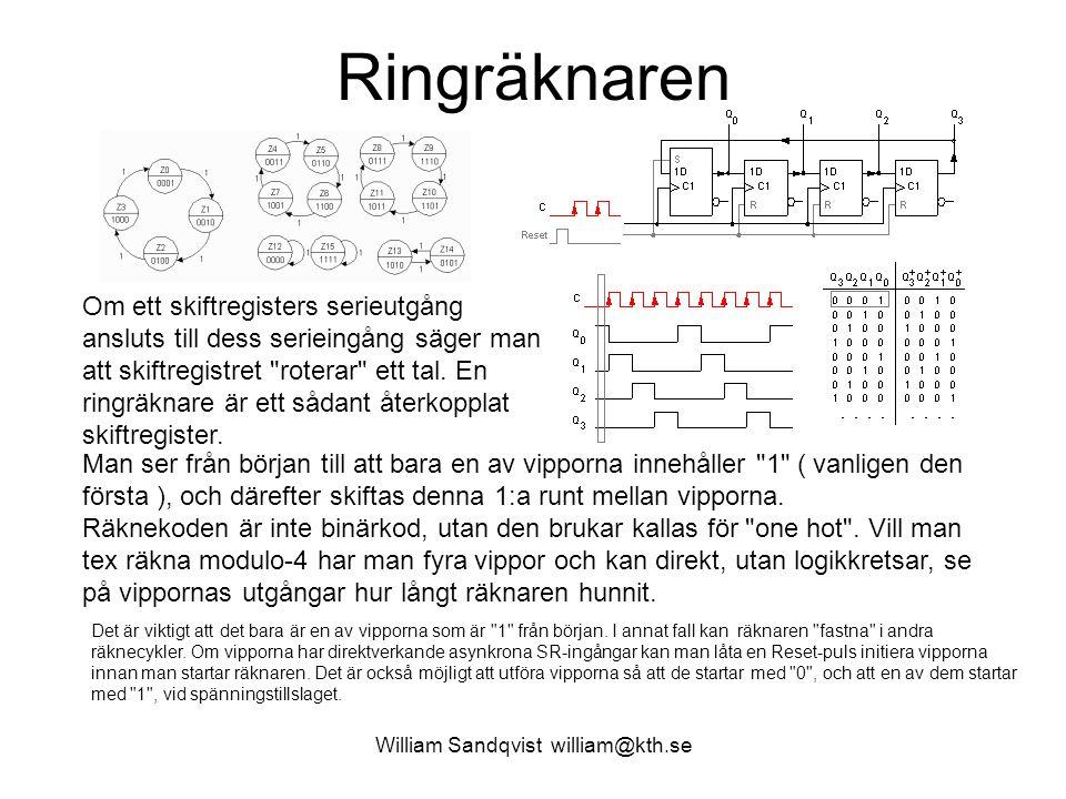 William Sandqvist william@kth.se Möbiusräknaren Ett skiftregisters där man återför serie- utgångens inverterade värde till serie- ingången kallas för en sk.