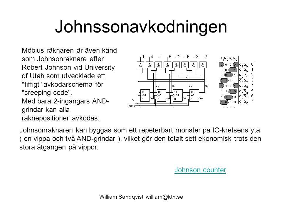 William Sandqvist william@kth.se Johnssonavkodningen Möbius-räknaren är även känd som Johnsonräknare efter Robert Johnson vid University of Utah som u