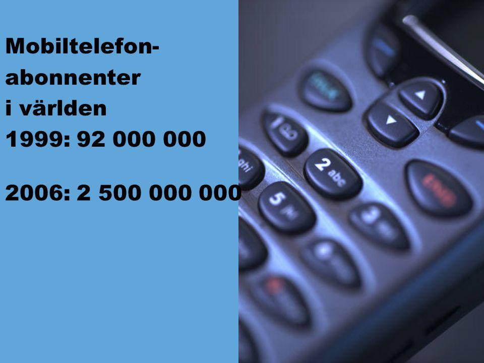 Mobiltelefon- abonnenter i världen 1999: 92 000 000 2006: 2 500 000 000