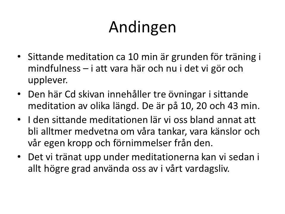 Andingen Sittande meditation ca 10 min är grunden för träning i mindfulness – i att vara här och nu i det vi gör och upplever. Den här Cd skivan inneh