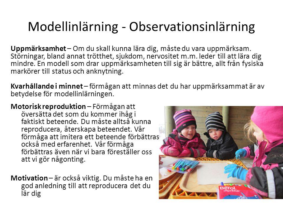 Modellinlärning - Observationsinlärning Motorisk reproduktion – Förmågan att översätta det som du kommer ihåg i faktiskt beteende. Du måste alltså kun