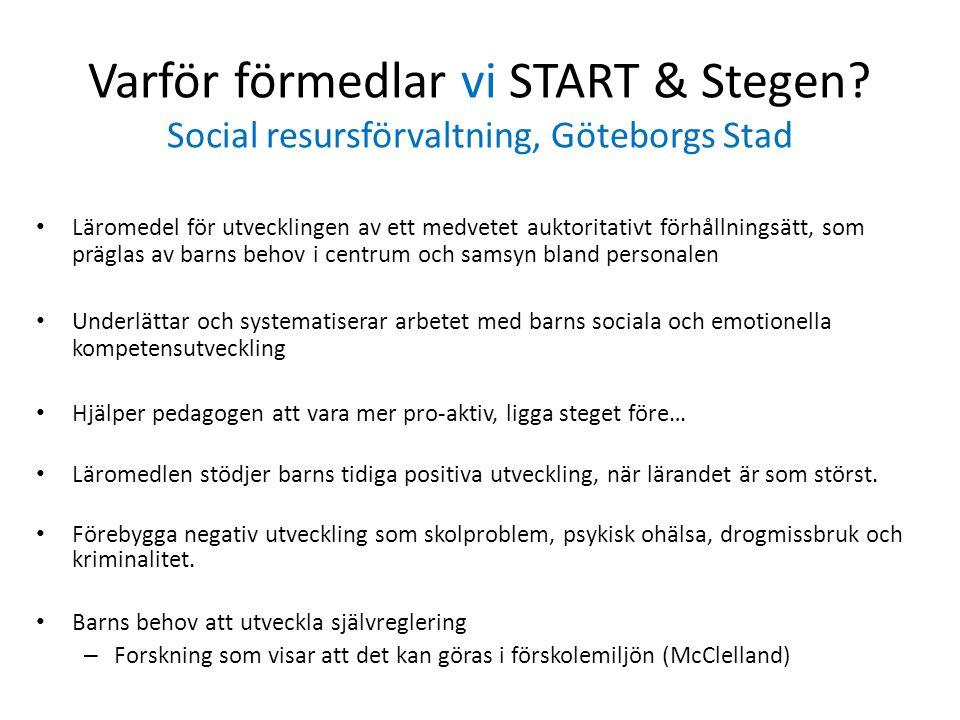 Varför förmedlar vi START & Stegen? Social resursförvaltning, Göteborgs Stad Läromedel för utvecklingen av ett medvetet auktoritativt förhållningsätt,