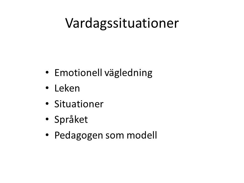 Vardagssituationer Emotionell vägledning Leken Situationer Språket Pedagogen som modell