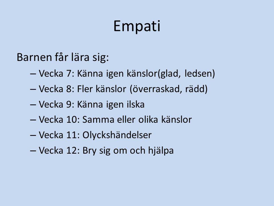 Empati Barnen får lära sig: – Vecka 7: Känna igen känslor(glad, ledsen) – Vecka 8: Fler känslor (överraskad, rädd) – Vecka 9: Känna igen ilska – Vecka