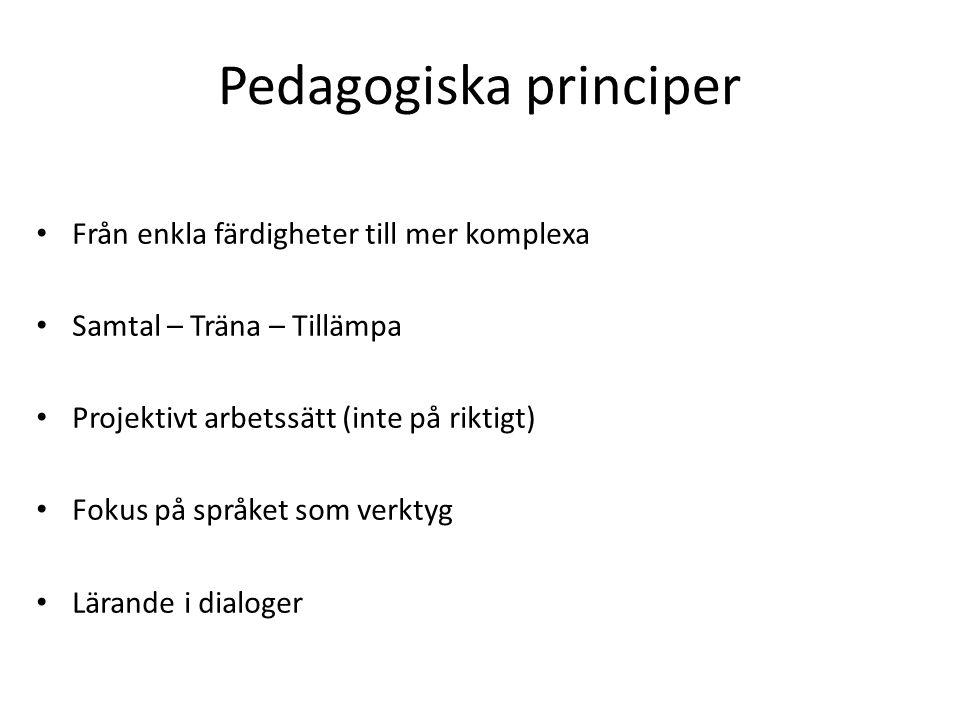 Pedagogiska principer Från enkla färdigheter till mer komplexa Samtal – Träna – Tillämpa Projektivt arbetssätt (inte på riktigt) Fokus på språket som