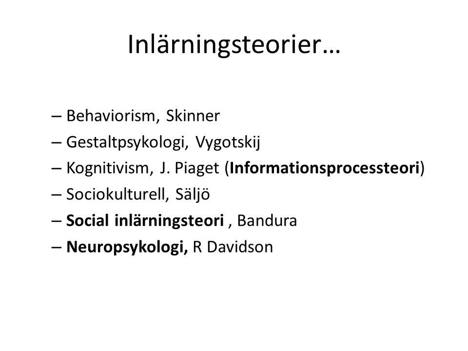Inlärningsteorier… – Behaviorism, Skinner – Gestaltpsykologi, Vygotskij – Kognitivism, J. Piaget (Informationsprocessteori) – Sociokulturell, Säljö –