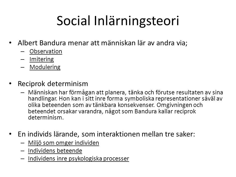 Social Inlärningsteori Albert Bandura menar att människan lär av andra via; – Observation – Imitering – Modulering Reciprok determinism – Människan ha