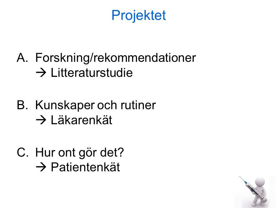Projektet A.Forskning/rekommendationer  Litteraturstudie B.Kunskaper och rutiner  Läkarenkät C.Hur ont gör det.