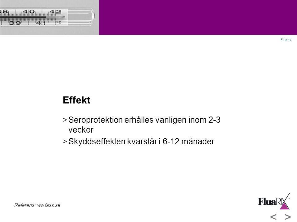 Effekt >Seroprotektion erhålles vanligen inom 2-3 veckor >Skyddseffekten kvarstår i 6-12 månader Referens: ww.fass.se Fluarix <>