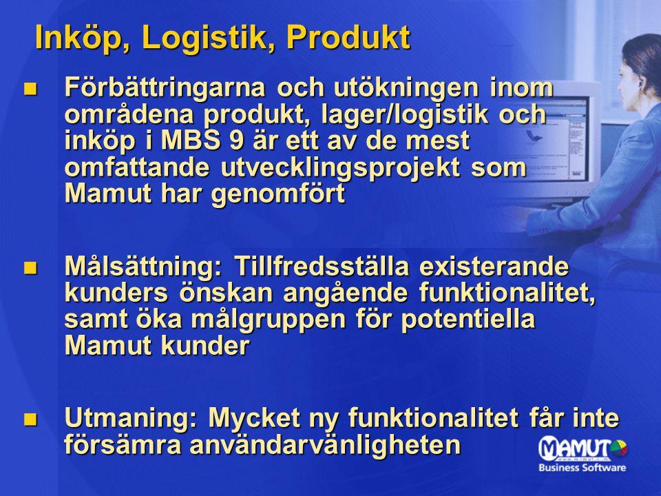 Inköp, Logistik, Produkt Förbättringarna och utökningen inom områdena produkt, lager/logistik och inköp i MBS 9 är ett av de mest omfattande utvecklingsprojekt som Mamut har genomfört Förbättringarna och utökningen inom områdena produkt, lager/logistik och inköp i MBS 9 är ett av de mest omfattande utvecklingsprojekt som Mamut har genomfört Målsättning: Tillfredsställa existerande kunders önskan angående funktionalitet, samt öka målgruppen för potentiella Mamut kunder Målsättning: Tillfredsställa existerande kunders önskan angående funktionalitet, samt öka målgruppen för potentiella Mamut kunder Utmaning: Mycket ny funktionalitet får inte försämra användarvänligheten Utmaning: Mycket ny funktionalitet får inte försämra användarvänligheten