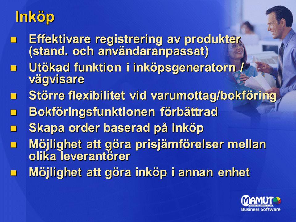 Inköp Effektivare registrering av produkter (stand.