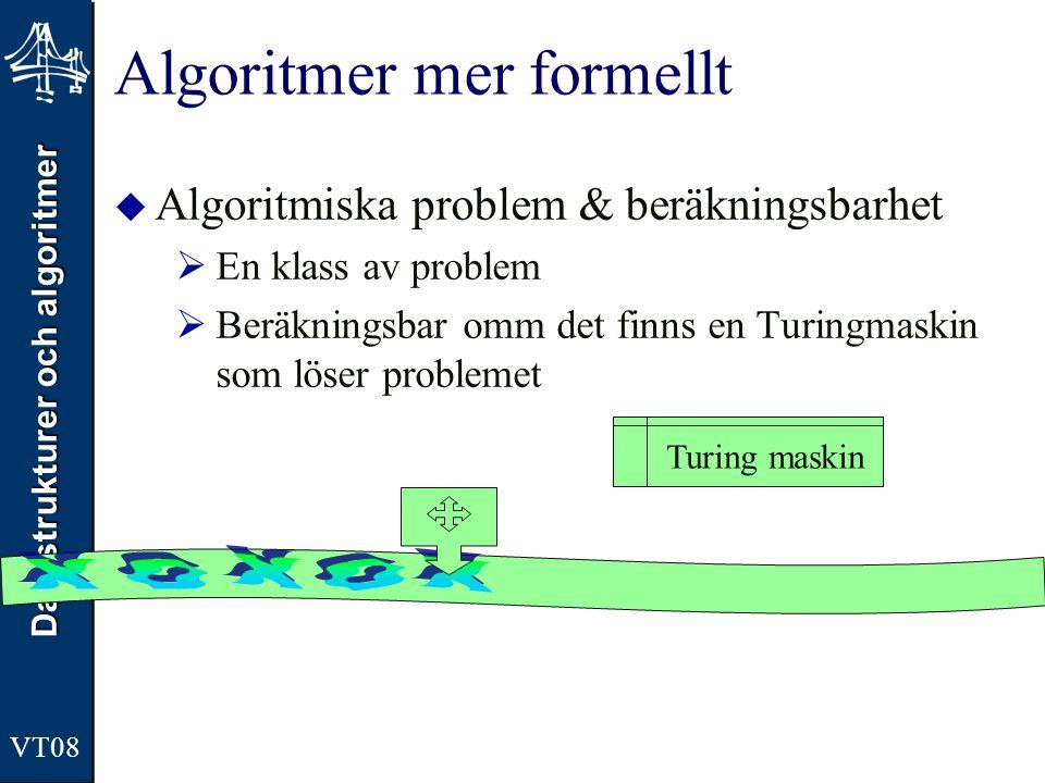 Datastrukturer och algoritmer VT08 Algoritmer mer formellt  Algoritmiska problem & beräkningsbarhet  En klass av problem  Beräkningsbar omm det fin