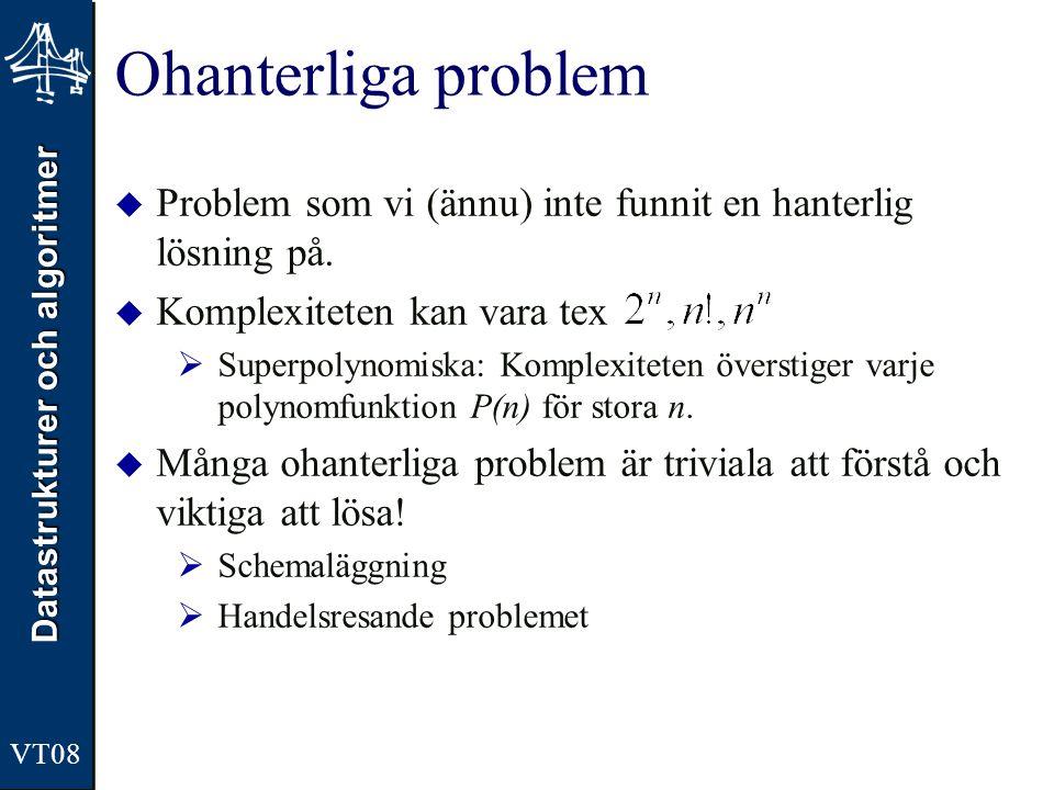 Datastrukturer och algoritmer VT08 Ohanterliga problem  Problem som vi (ännu) inte funnit en hanterlig lösning på.  Komplexiteten kan vara tex  Sup