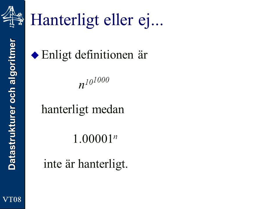 Datastrukturer och algoritmer VT08 Hanterligt eller ej...  Enligt definitionen är n 10 1000 hanterligt medan 1.00001 n inte är hanterligt.