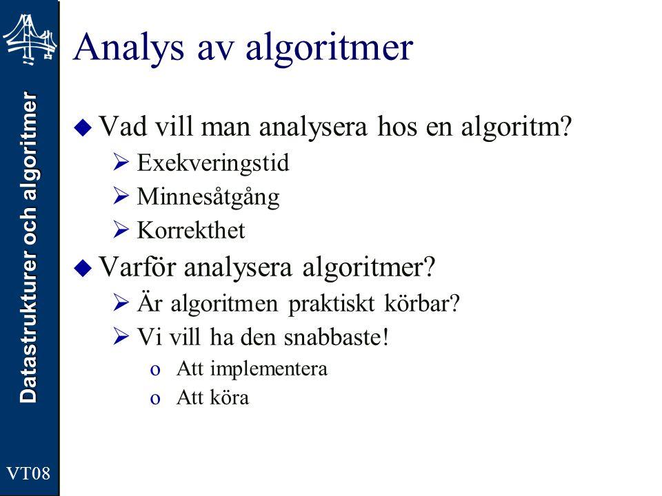 Datastrukturer och algoritmer VT08 Analys av algoritmer  Vad vill man analysera hos en algoritm?  Exekveringstid  Minnesåtgång  Korrekthet  Varfö