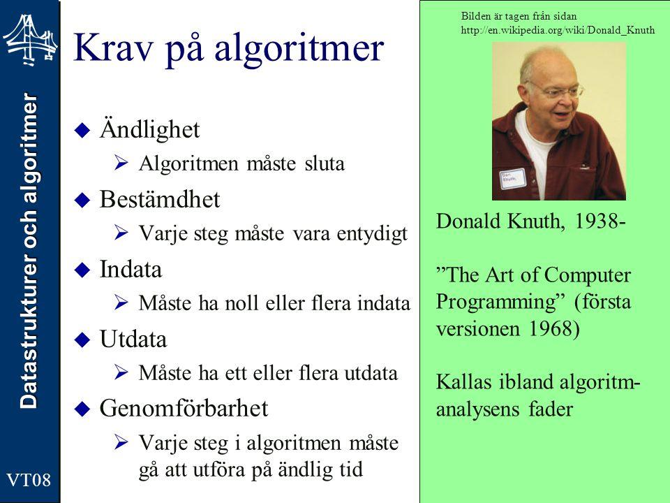 Datastrukturer och algoritmer VT08 Krav på algoritmer  Ändlighet  Algoritmen måste sluta  Bestämdhet  Varje steg måste vara entydigt  Indata  Må