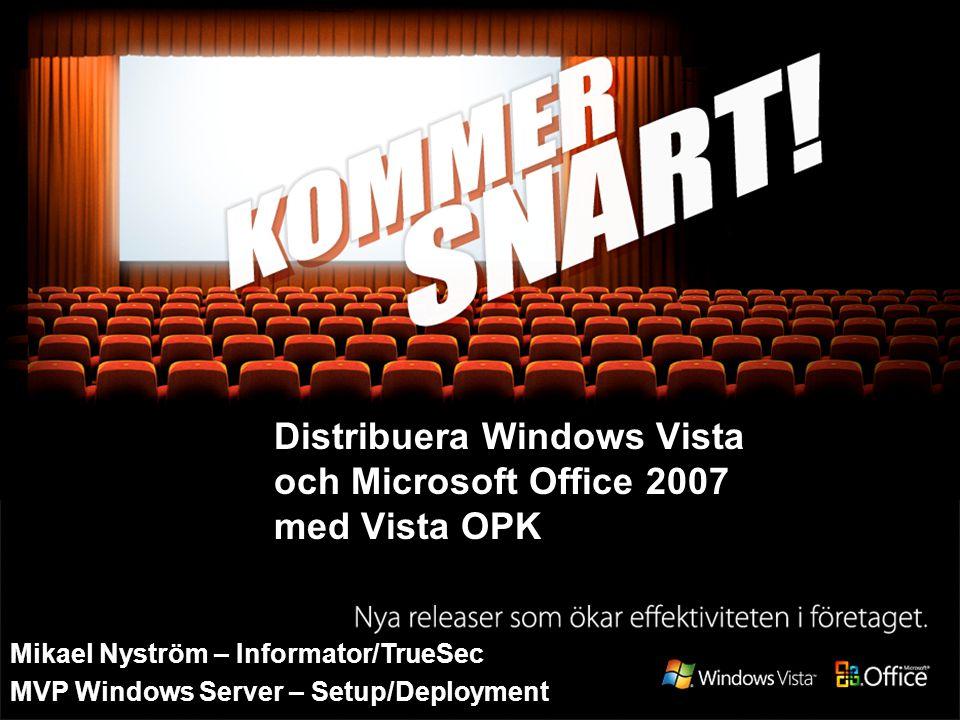 Översikt över Vista förinstallation Bildbaserad installation ImageX Sysprep WinPE 2.0 ImageX WinPE 2.0 Windows DS Unattend.xml Bildbaserad installation WinRE WinPE 2.0 OOBE.xml