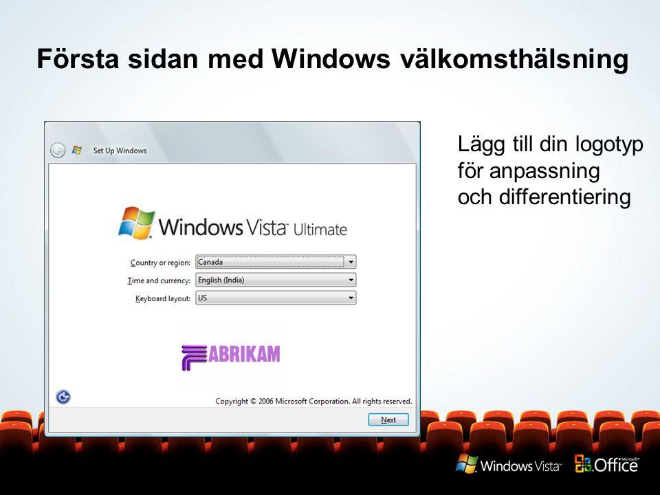 Första sidan med Windows välkomsthälsning Lägg till din logotyp för anpassning och differentiering