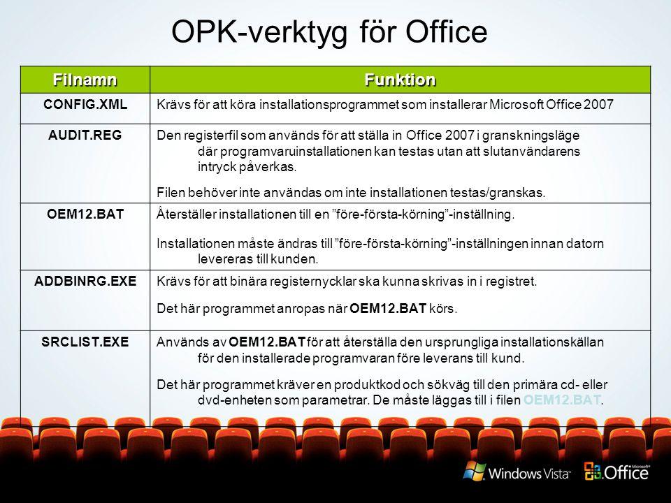 OPK-verktyg för Office FilnamnFunktion CONFIG.XMLKrävs för att köra installationsprogrammet som installerar Microsoft Office 2007 AUDIT.REGDen registerfil som används för att ställa in Office 2007 i granskningsläge där programvaruinstallationen kan testas utan att slutanvändarens intryck påverkas.