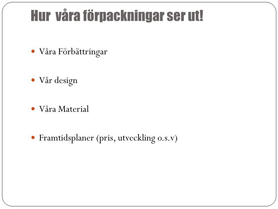 Hur våra förpackningar ser ut! Våra Förbättringar Vår design Våra Material Framtidsplaner (pris, utveckling o.s.v)