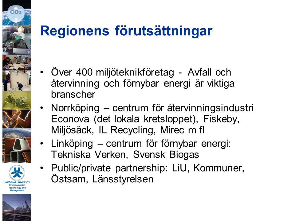 Regionens förutsättningar Över 400 miljöteknikföretag - Avfall och återvinning och förnybar energi är viktiga branscher Norrköping – centrum för återvinningsindustri Econova (det lokala kretsloppet), Fiskeby, Miljösäck, IL Recycling, Mirec m fl Linköping – centrum för förnybar energi: Tekniska Verken, Svensk Biogas Public/private partnership: LiU, Kommuner, Östsam, Länsstyrelsen