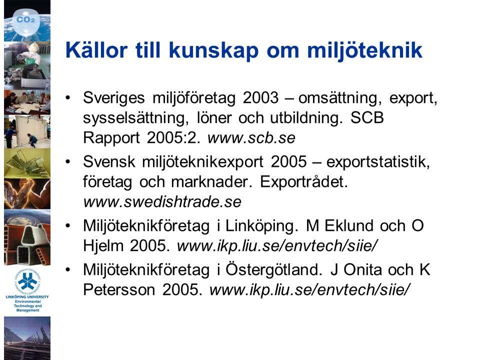 Inventeringens resultat, Linköpings kommun 155 miljöteknikföretag fördelade på branscher 100 miljödrivna företag