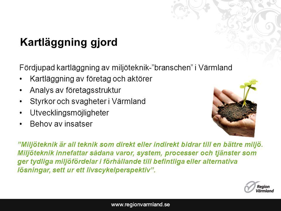 """www.regionvarmland.se Kartläggning gjord Fördjupad kartläggning av miljöteknik-""""branschen"""" i Värmland Kartläggning av företag och aktörer Analys av fö"""